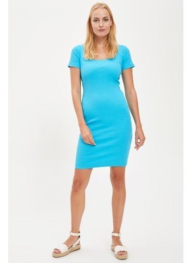 DeFacto Kısa Kollu Örme Elbise  Mavi